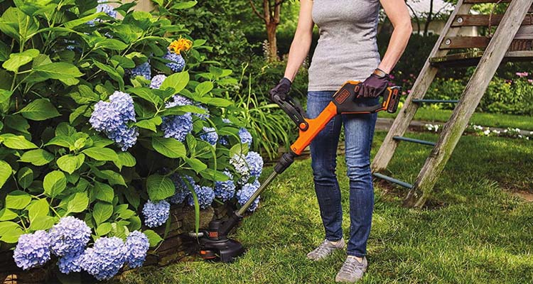 Black + Decker Battery powered weed eater in garden