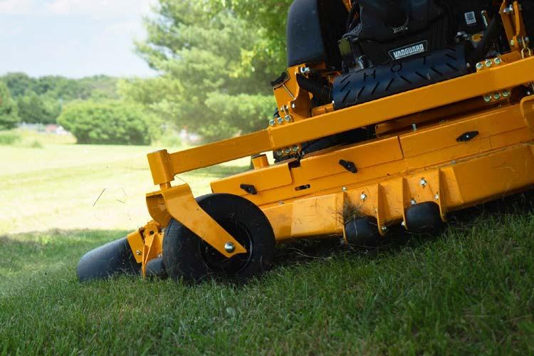 Zero turn lawn mower on hill
