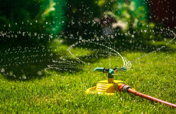 Watering lawn with oscillating sprinkler